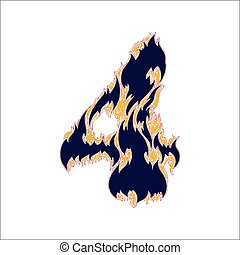 fiery font blue number 4 on a white background