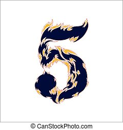 fiery font blue number 5 on a white background