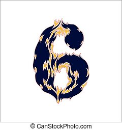fiery font blue number 6 on a white background