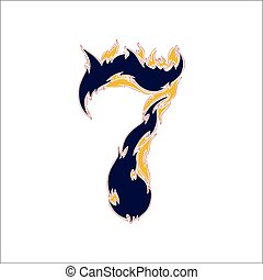 fiery font blue number 7 on a white background