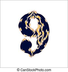 fiery font blue number 9 on a white background