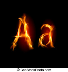 Fiery font. Letter A. Illustration on black background