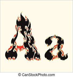 Fiery font. Letter A Illustration on white background