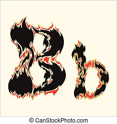 Fiery font Letter B Illustration on white background