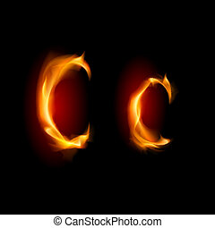 Fiery font. Letter C. Illustration on black background