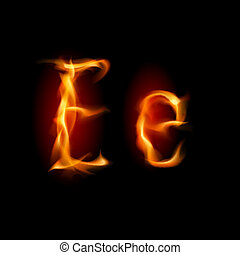 Fiery font. Letter E. Illustration on black background