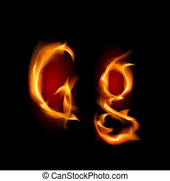 Fiery font. Letter G. Illustration on black background