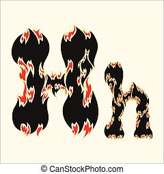 Fiery font Letter H Illustration on white background