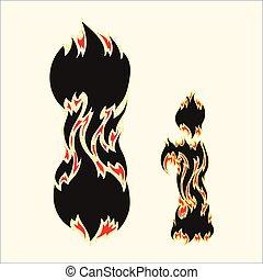 Fiery font Letter I Illustration on white background