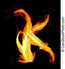 Fiery font. Letter K