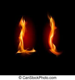 Fiery font. Letter L. Illustration on black background