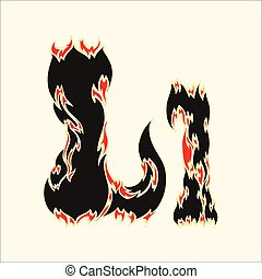 Fiery font Letter L Illustration on white background