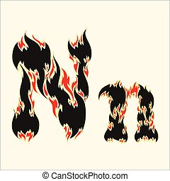 Fiery font Letter N Illustration on white background