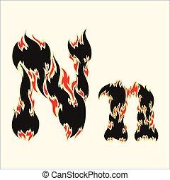 Fiery font Letter N Illustration on white background