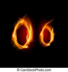 Fiery font. Letter O. Illustration on black background
