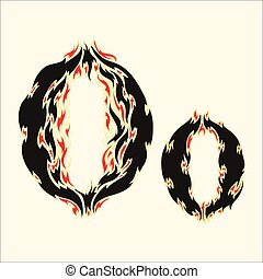 Fiery font Letter O Illustration on white background