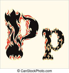 Fiery font Letter P Illustration on white background