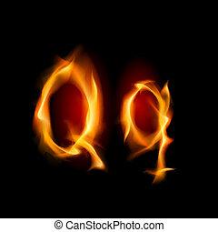 Fiery font. Letter Q. Illustration on black background