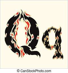 Fiery font Letter Q  Illustration on white background