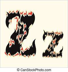 Fiery font Letter Z Illustration on white background