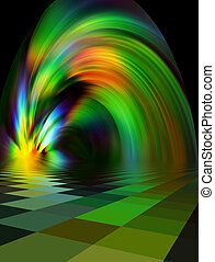 Abstract illustration, the powerful fountain of the many-colored fires, which sparkle by all colors of rainbow.