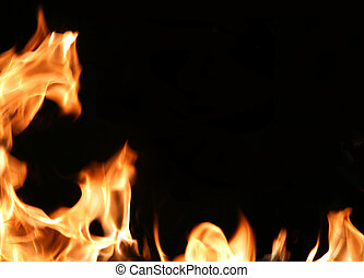 Fiery frame - Dramatic flames around an empty black space ...