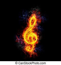Fiery, burning G clef