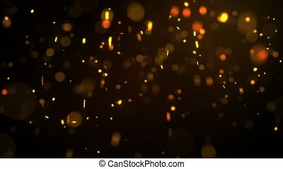 Fiery glowing particles falling down seamless loop