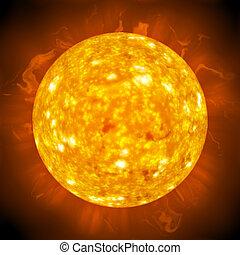 Fiery Glowing Sun - Burning ball of fire. A great 3D...
