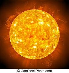 Fiery Glowing Sun - Burning ball of fire. A great 3D...