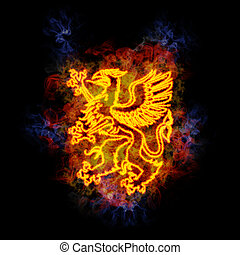 Griffin, covered in flames.