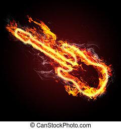 fiery guitar - rock music. fiery guitar against black...