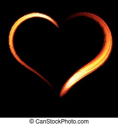 Fiery heart on a black background.