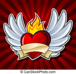 Fiery heart with wings on dark background, vector...