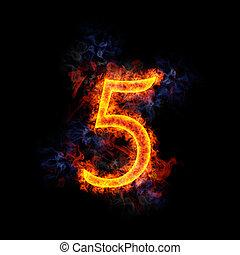 Fiery letter 5. - Fiery, burning letter 5 The font is Lucida...
