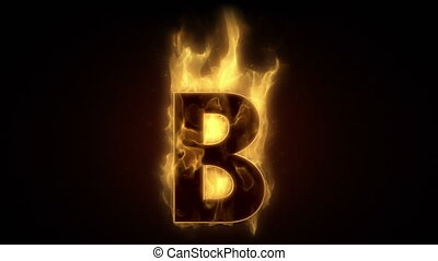 Fiery letter B burning in loop with