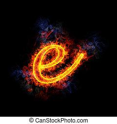 Fiery letter e.