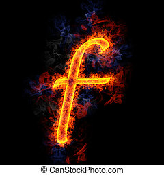 Fiery letter f.