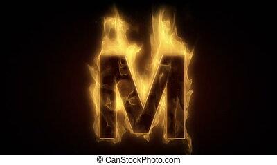 Fiery letter M  burning in loop wit