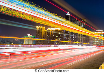 fiery light trails at night