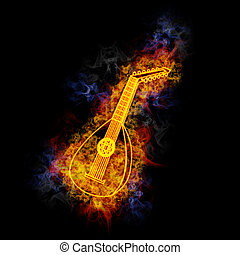 Lute, covered in flames.