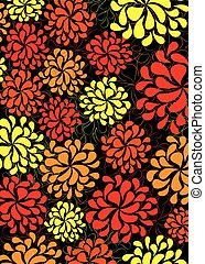 Fiery Marigold pattern - A fiery floral pattern with...