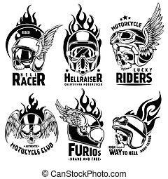 Fiery Motorcycle Skull Helmet Logos Set - Fiery motorcycle...