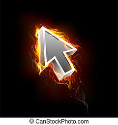 illustration of mouse pointer arrow in fire blaze