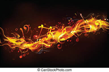 Fiery Music - illustration of musical notes coming out of...