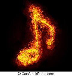 Fiery musical note symbol on black background