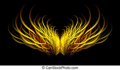 Abstract fiery mythical golden angel wing fractal isolated over black background.