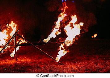 fiery night show fire spears performance