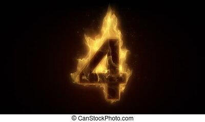 Fiery number four burning in loop w