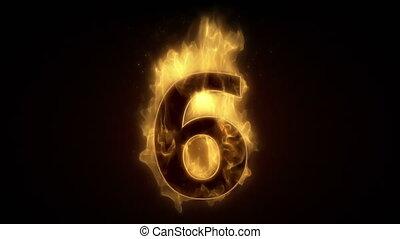Fiery number six burning in loop wi